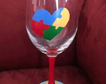 Autism Puzzle Glass