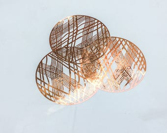 Copper Placemats, Wedding Placemats, Foil Chic Design Round Copper Placemats - PACK OF 20