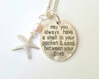Beachy necklace with beach quote, starfish and freshwater pearl