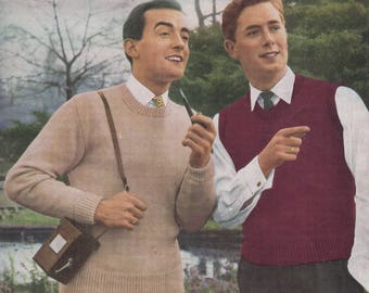 Vintage Knitting pattern 1950s Man's slipover and long sleeved sweater with alternative neck lines Marriner's No. 264