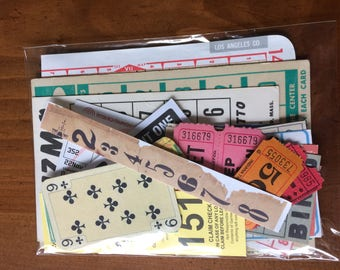 Number Vintage Ephemera Pack 28 pieces tags bingo tickets map