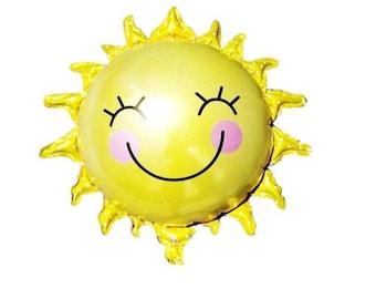 Happy Sun Balloon, Sunshine Balloon, Sun Birthday Party, Summer Party Balloon, You Are My Sunshine Party Theme, Smiley Sun Balloon