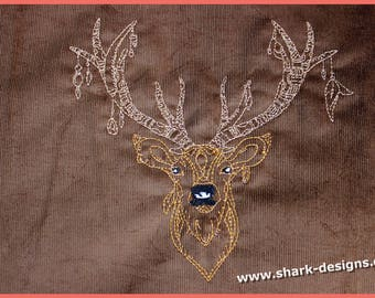 Embroidery file Ethno-Hirsch in 4 sizes, machine embroidery, embroidery pattern, Bavaria, barrel stitches, easy to embroider
