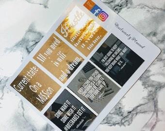 Rose Gold Boss Babe | Girl Boss | Planner Stickers | Full Boxes | Inspirational | Hustle