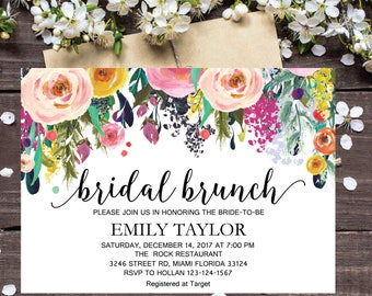 Bridal Brunch Invitation, Watercolor bridal invite, Floral Bridal Shower Card, Instant Digital Download File, Flower Bride DIY, Brunch 11