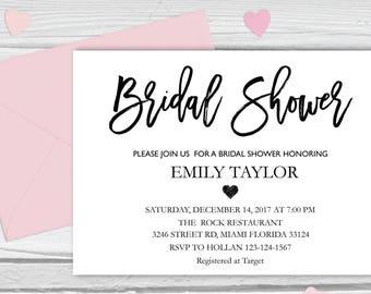 Bridal Shower Invitation, Printable Bridal Shower, Bridal Shower Card, Instant Digital Download File, Flower Bride DIY, Bridal Cards White 3