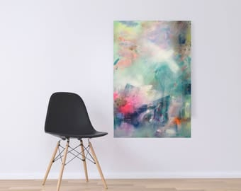 0riginal large abstract painting on canvas, blue, white, handmade, modern art, home decor