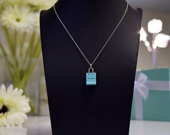 Tiffany & Co Blue Shopping Bag Charm and Chain