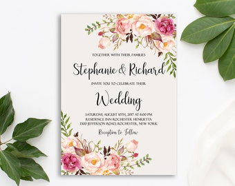 Wedding Invitation Printable Peach Rose Boho Flowers Digital Wedding Watercolor Invitation Bohemian Wedding Invite WS-022