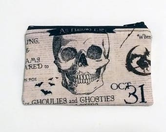 Skull Halloween Coin Purse - Zipper Coin Pouch - Cute Coin Purse - Change Wallet - Zipper Bag - Card Wallet- Gift Idea- Birth control case -