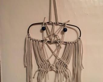 Free-hand Macrame Owl Wall Hanging