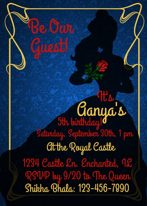 Beauty and the Beast Theme Invitation Be Our Guest Blue Red Yellow