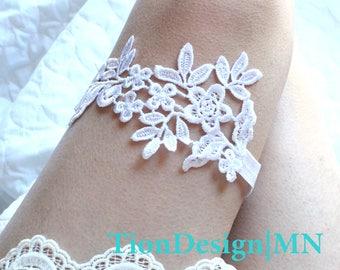 Wedding Garter, Bridal Garter, White Lace Garter ELLA, Keepsake garter-Toss garter