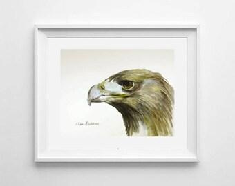 ORIGINAL watercolor painting, Eagle painting, Eagle watercolor, Bird Painting, Wall Art, Wall Decoration, Eagle portrait, Bird portrait