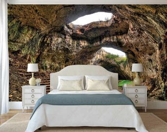 Peel And Stick Wall Mural, Wall Mural Cave, Removable Wallpaper, Nature Wall Mural, Cave Wall Decal
