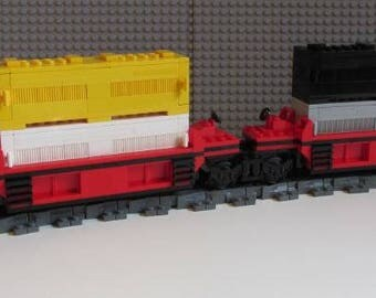 "Custom Lego Train Car ""Intermodal Doublestack Car (Red)"""