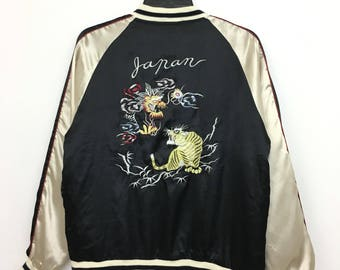 Vintage SUKAJAN Jacket Japan Embroidery Souvenir Tiger Dragon Large Size