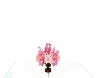 Flower Bouquet 3D Pop Up Card-double pink, Pink Flower Birthday, Card For Her, Mother's Day Card, 3D Flower Card, Handmade Flower