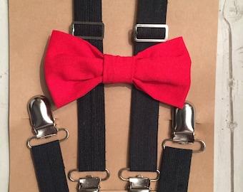 Red bow tie, Valentine bow tie, Suspenders, Baby Suspenders, Toddler suspenders, Kids suspenders, Bowtie suspender set, Baby bow tie, bowtie