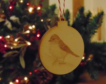 Robin laser cut engraved christmas tree decoration