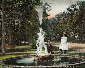 Neptune's Herald Postcard Rhode Island 1906 Fountain Providence RI PC Roger Williams Park Children