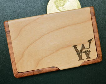 Personalized Engraved business card holder, Custom Business Card Holder, Maple Rosewood holder, Monogram Card Holder, Engraved, BC 004