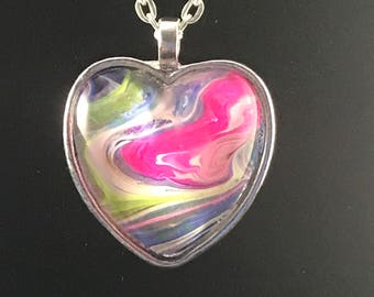Hot pink, hand painted, heart shaped abstract art pendant