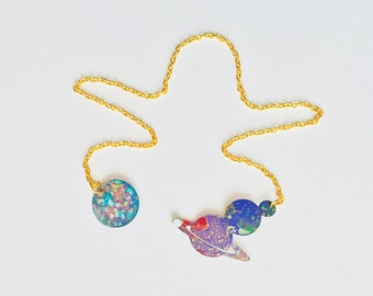 Magnetic planets & Saturn double-sided necklace - Planet reversible necklace - Cut out of the stars - Saturn jewelry - Magnetic front clasp