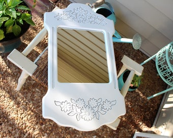 Wood Flower Carving Decorative Framed Vintage Mirror - White Retro Carved Wall Decor