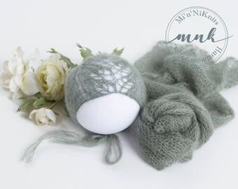 """Newborn photography set, mohair wrap & """"feather lace"""" bonnet"""