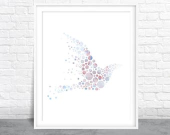 Bird Art, Beautiful Dove, Bird Watercolor, Circle Art