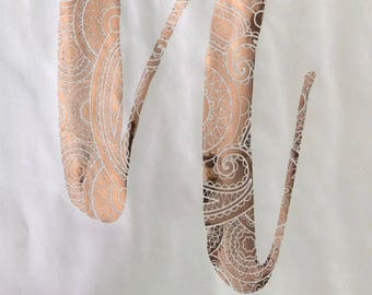 Rose gold lace print