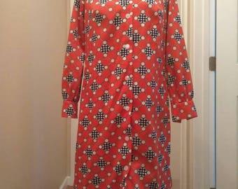 Size Large Mod Style Print Dress