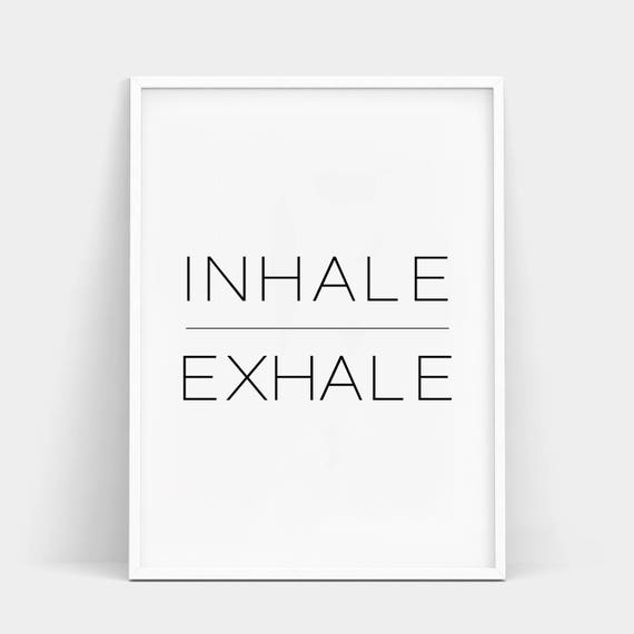 Inhale Exhale Print Yoga Wall Art Zen Breathe Pilates Poster Minimalist Relaxation Gifts