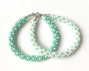 White  and teal handmade beaded bracelate (Kumihimo) - Memet Jewelry