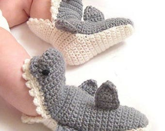 Crochet Shark Shoes Slippers Booties for Baby (6-12 months)