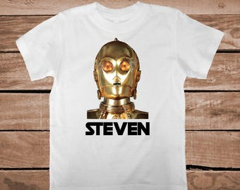 Star Wars Custom Tee Tees C3PO Shirt With Name Star Wars Robot Onesies Star Wars Birthday Shirt Unique c3po T-Shirt for Boys and kids, bb02