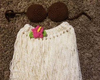 Crochet Hula Island Girl Newborn Photo Prop