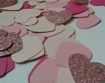 Bridal shower decor, Pink wedding confetti, heart confetti, paper confetti, wedding toss, table scatter, table decor, pink baby shower.