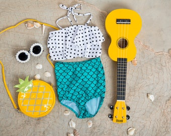 Cute High Waisted Mermaid Swimsuit-Two Piece Bikini Bathing Suit-Polka Dot with Mermaid Bottoms