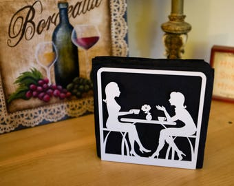 Metal Luncheon Napkin holder (Eiffel Tower or Two friends tea time)