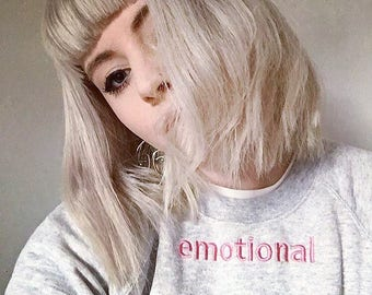 Embroidered unisex 'emotional' sweater