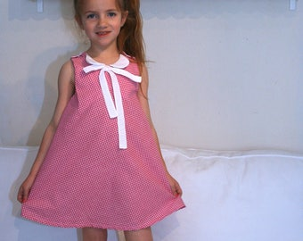 Pink dress sleeveless gingham 4-6 unique model years