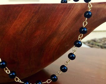 Rosary style beaded choker