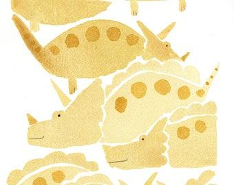 Yellow dinosaurs. Original Watercolor