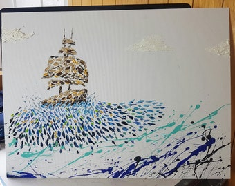 The ship on paint, textured oil