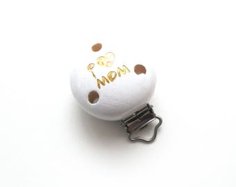 Wooden clip I Love Mom Glitter white