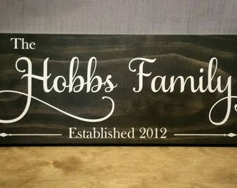 Cutom Hand Painted Family Wood Sign, Last Name Sign, Established Sign, Personalized Stained Wood Sign