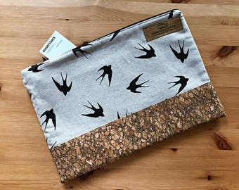 Small clutch - evening bag with a swallow motif and Cork fabric