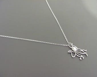 Sterling silver Octopus necklace, silver Octopus necklace, Ocean necklace, gift for her, Beach Necklace, Gift for her, gift for teen